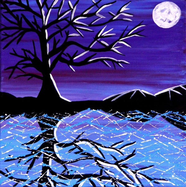 Image of Moonlit Dreams - Original Painting by Charlotte Farhan