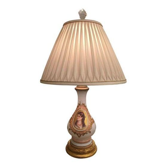Image of Antique Baccarat Opaline Glass Portrait Lamp
