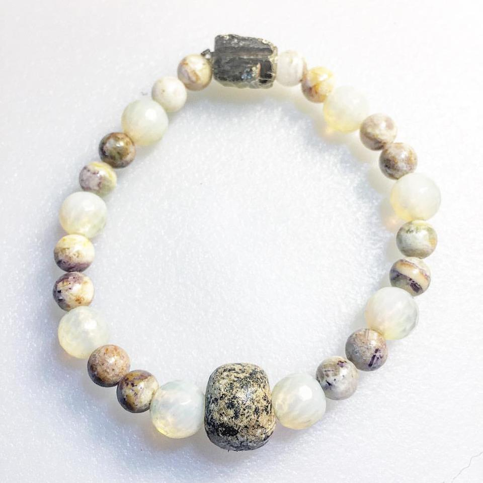 Healing Past Karma ~Fossilized Mammoth bone, Opalite, Chrysanthemum, Pyrite