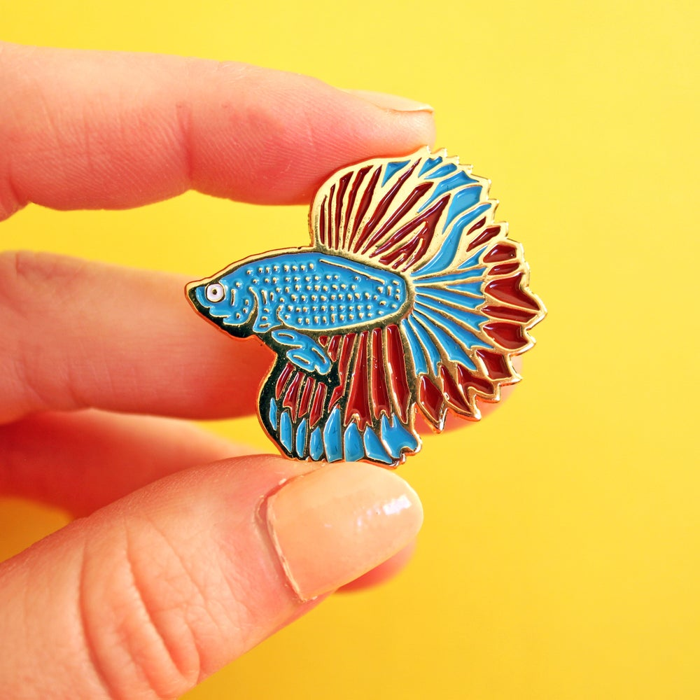 Image of Betta fish, Siamese Fighting Fish, gold enamel pin - badge - lapel pin