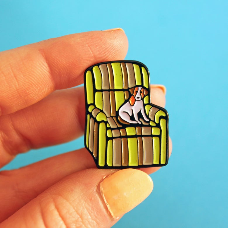 Image of Ugly chair & dog, enamel pin - badge - lapel pin
