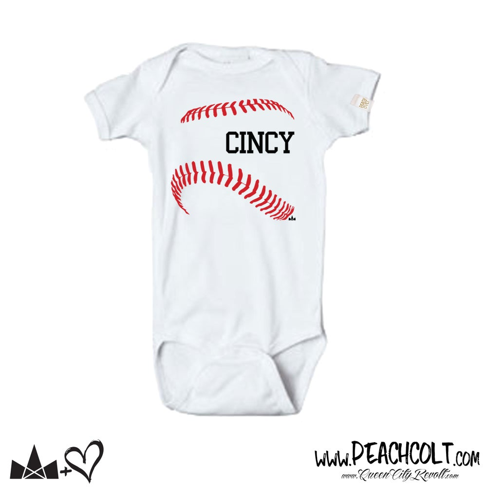 Image of Cincy Baseball, Infant Onesie, White