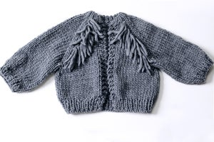 Image of Perth Chunky Cardigan  w/ Fringe - Peruvian wool (shown in Charcoal- more colours)