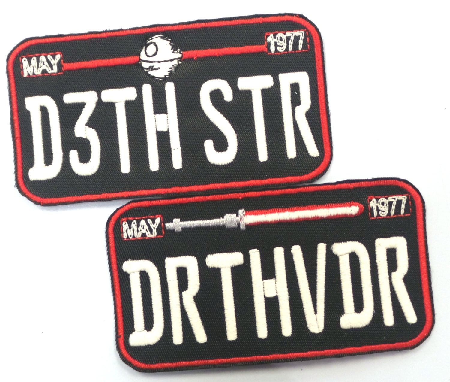 Image of Death Star/Vader Car Plate Patch