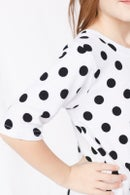 Image 1 of Women's White With Black Dot Knot Knit Dress