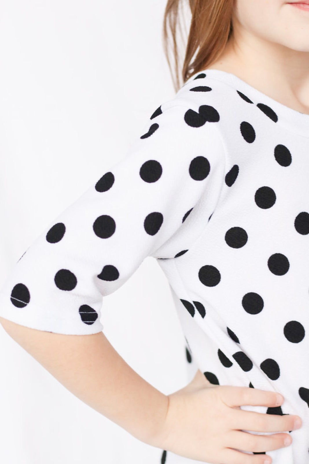 Image of Women's White With Black Dot Knot Knit Dress