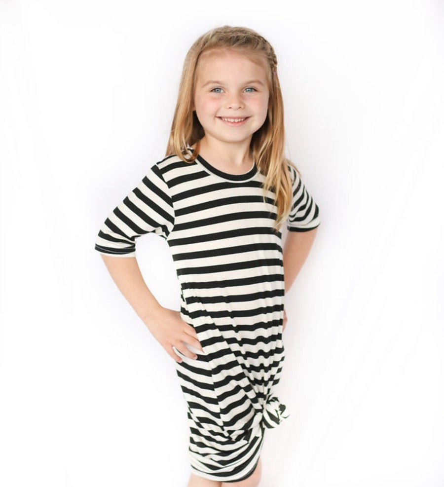 Image of Baby/Girls * Classic Stripe Black/White * Knot Knit Dress