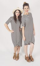 Image 2 of Women's White With Black Dot Knot Knit Dress