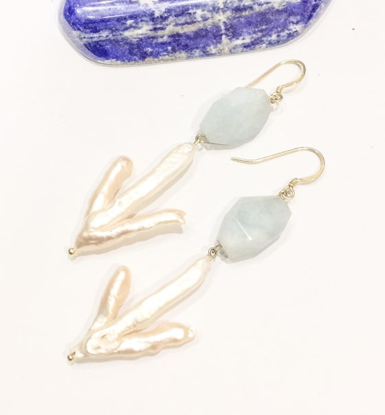 Image of Aquamarine and Freshwater Pearl Earrings