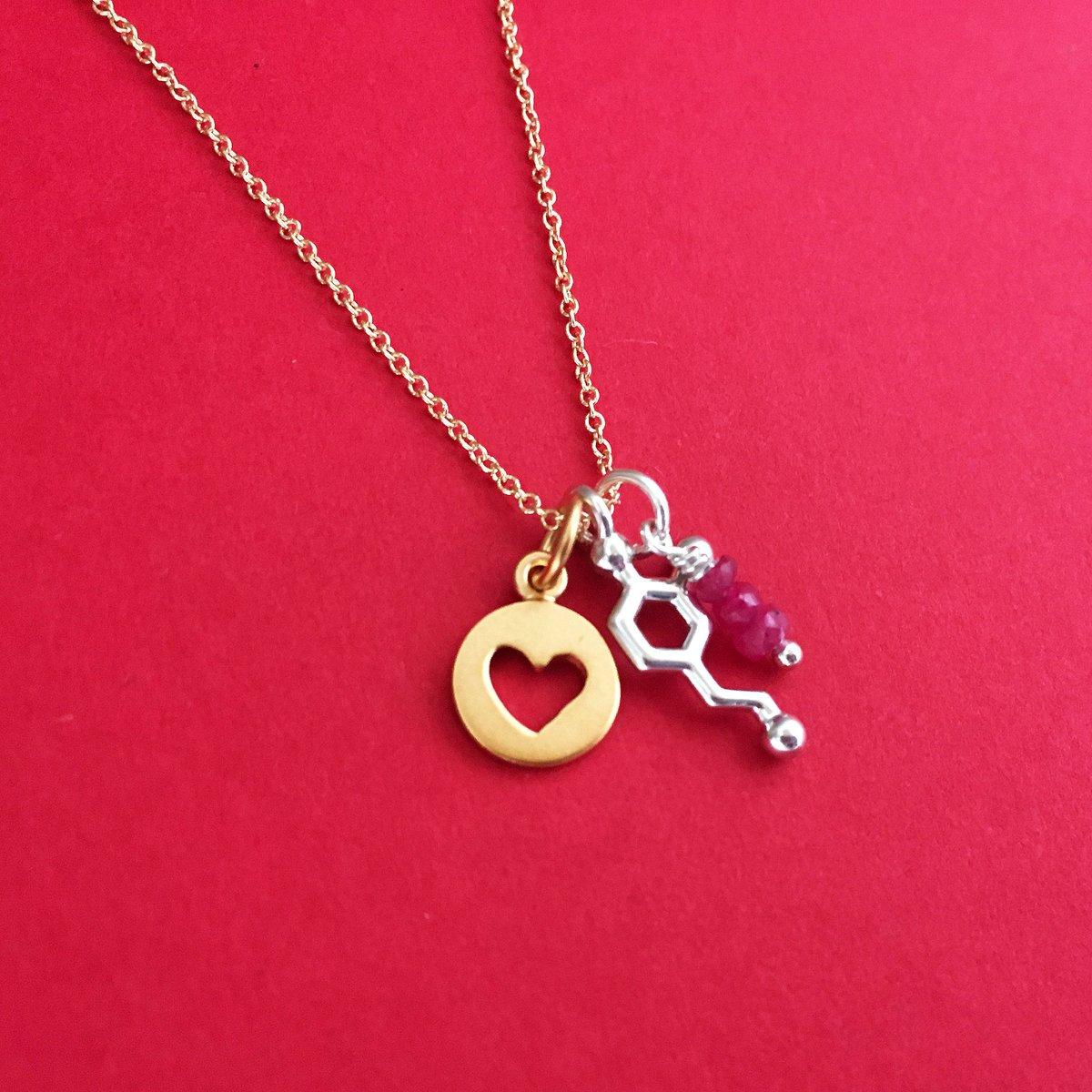 Tiny Dopamine Heart Ruby Necklace Made With Molecules