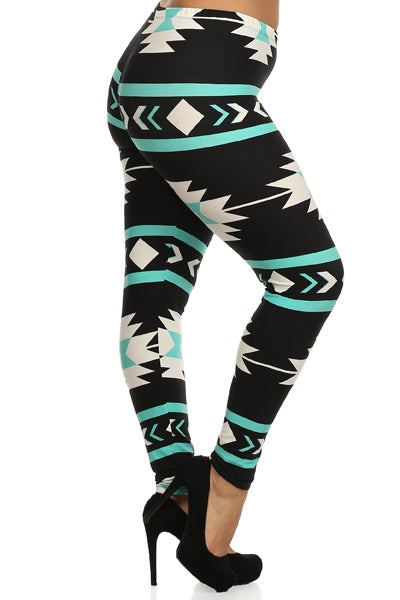 Image of Stephanie Aztec teal - plus size