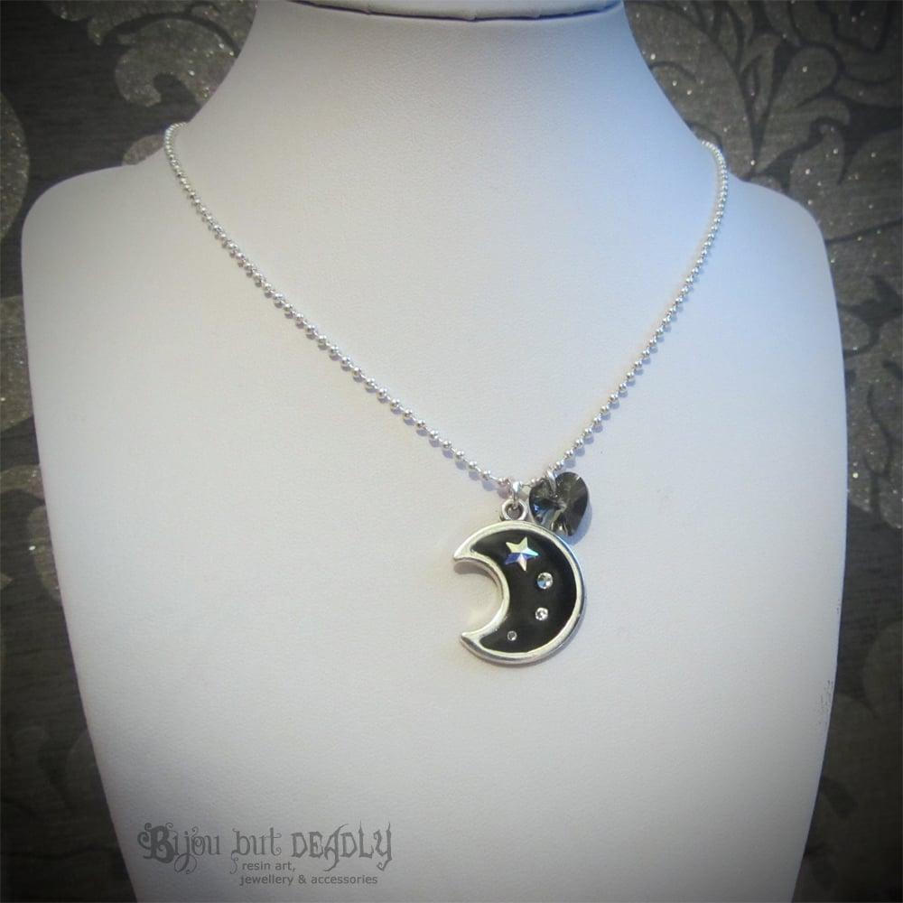 Moon and Shooting Star Crystal Pendant