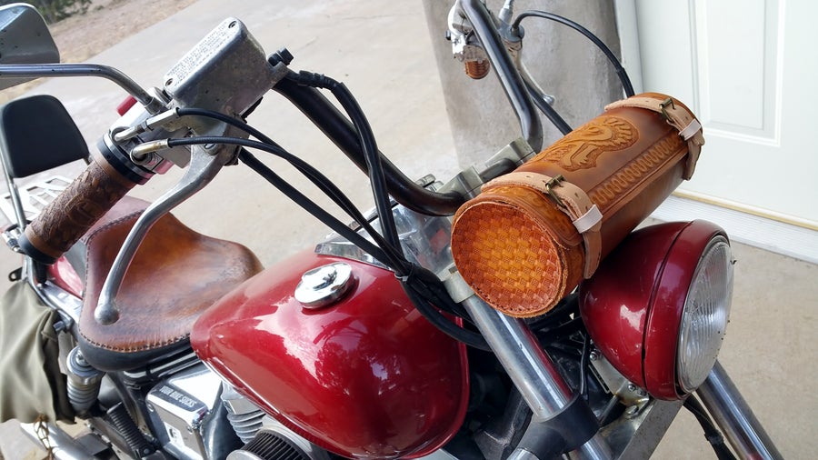 Image of Custom Hand Tooled Leather Motorcycle Fork Bag. Your image/design or idea