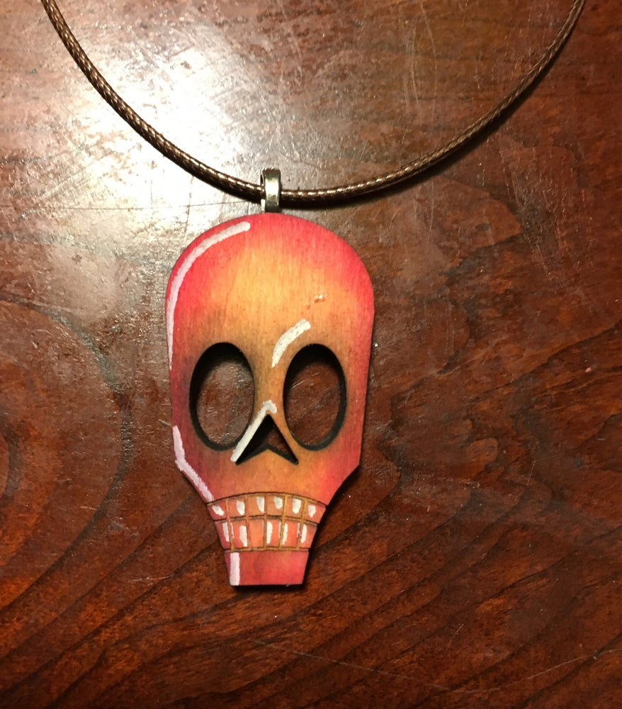 Image of Skull Necklace: yellow/red