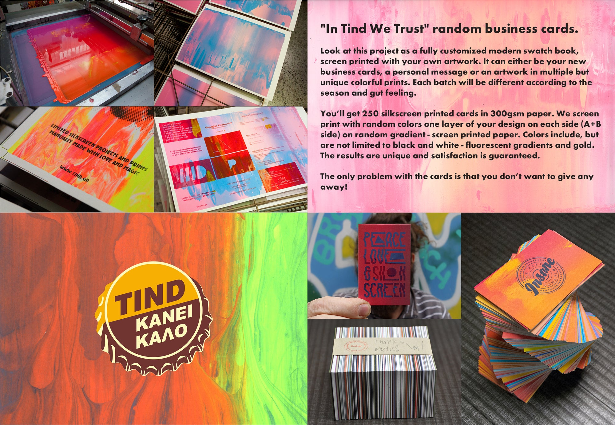 Image of In Tind we trust random business card prints.