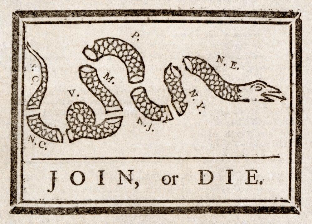 Image of Join or Die - Black on Grey