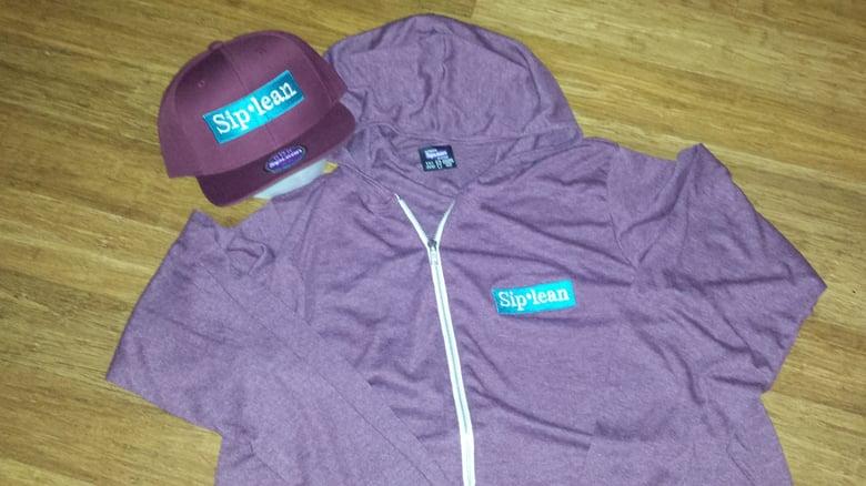 Image of Siplean Burgundy Lightweight Zip Up Hooded Sweatshirt