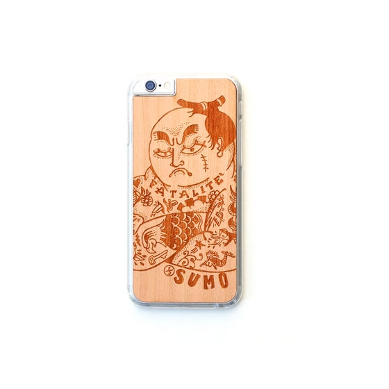 Image of TIMBER Wood Skin Case (iPhone, Samsung Galaxy) : Halfsumo Senpai