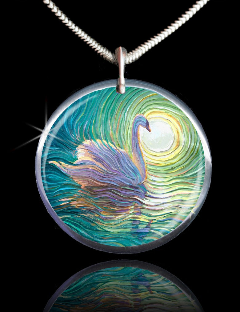 Image of White Swan Positive Energy Pendant