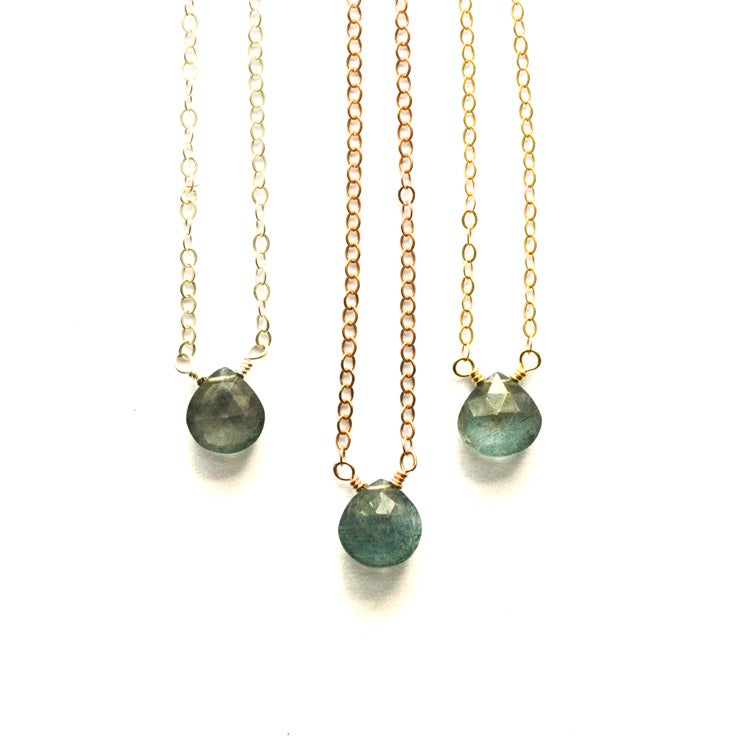 Image of Tiny moss aquamarine solitaire necklace