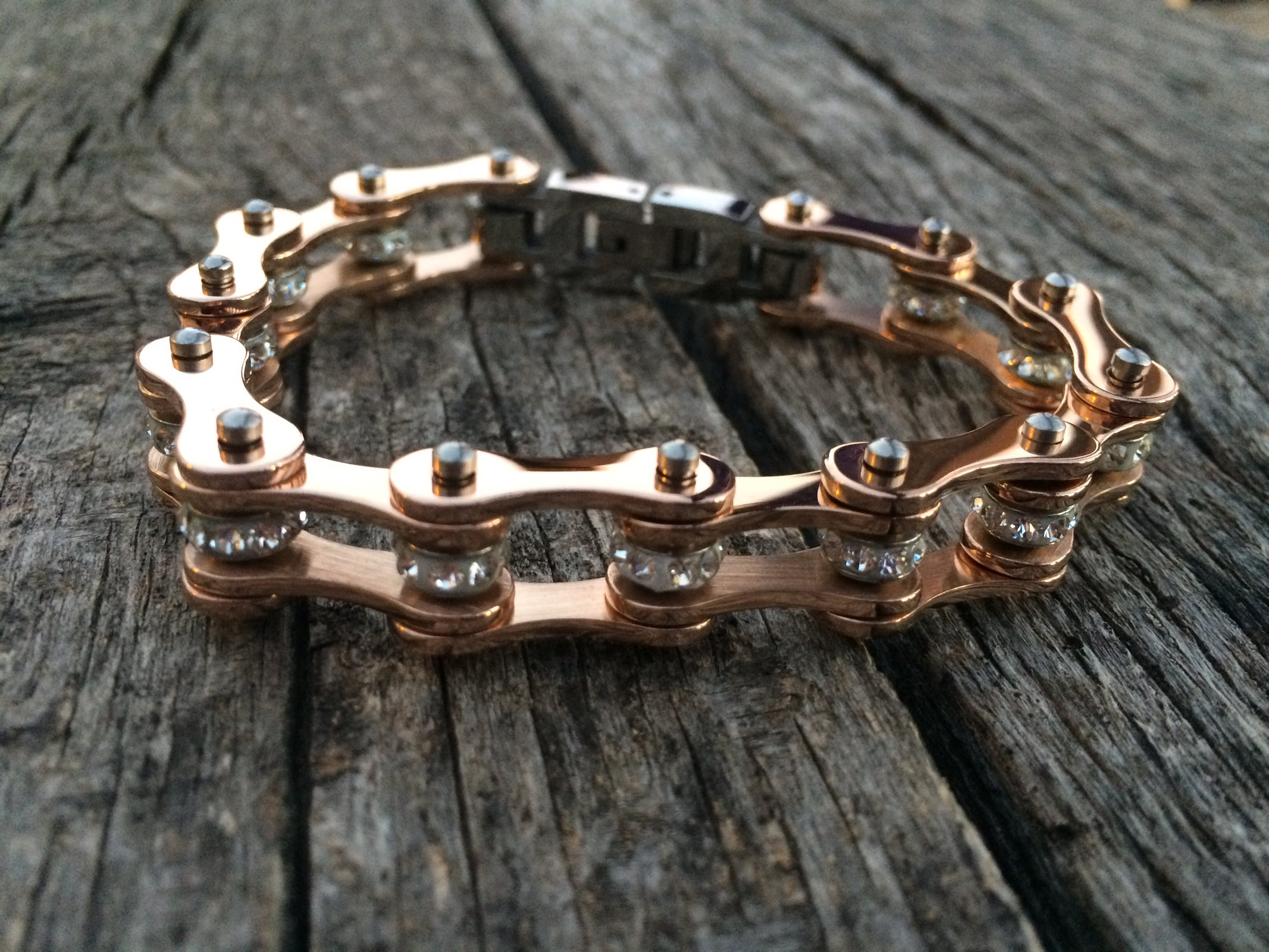 Rose Gold Stainless Steel Chain Bracelet With Gems Crushed Mx