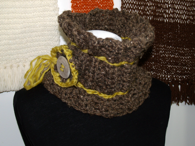 Image of Commuter Neck Cowl with Side Flower- Barley Brown and chartreuse