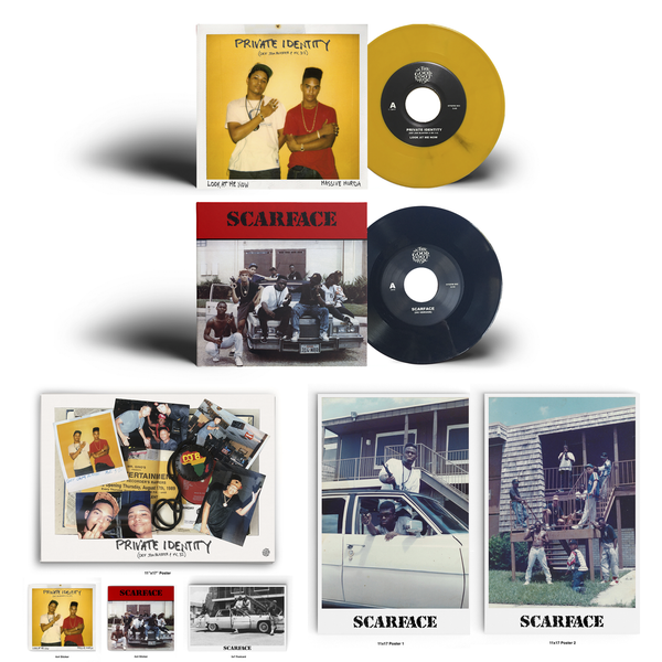Image of Private Identity (Def Jam Blaster & MC 3-2)/Scarface 7 Inch bundle!(Black & Yellow)
