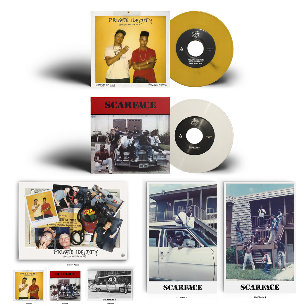 Image of Private Identity (Def Jam Blaster & MC 3-2)/Scarface 7 Inch bundle!(White & Yellow)