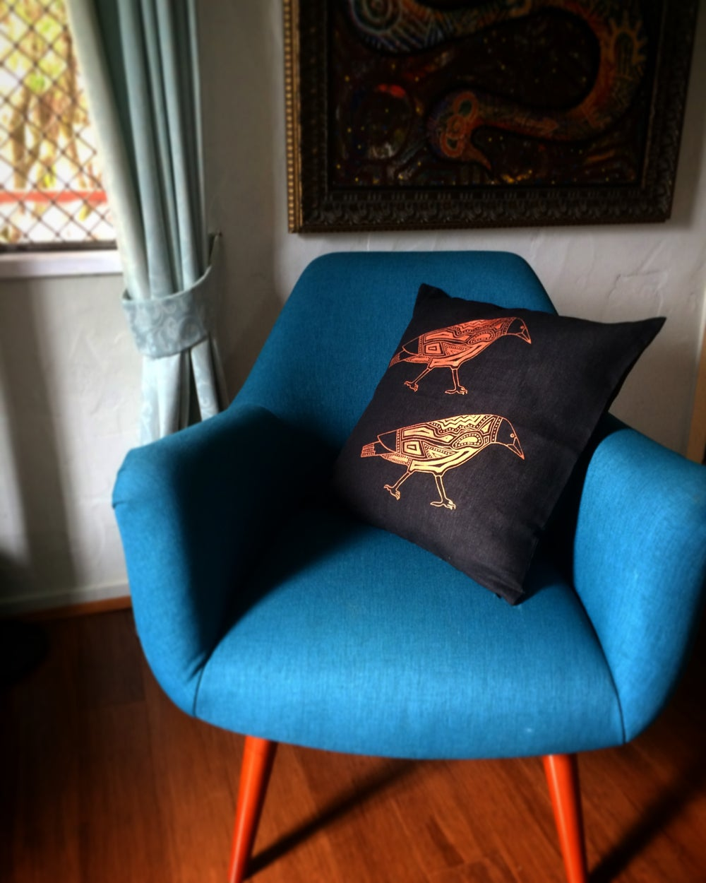 100% Linen Magpies Cushion Cover