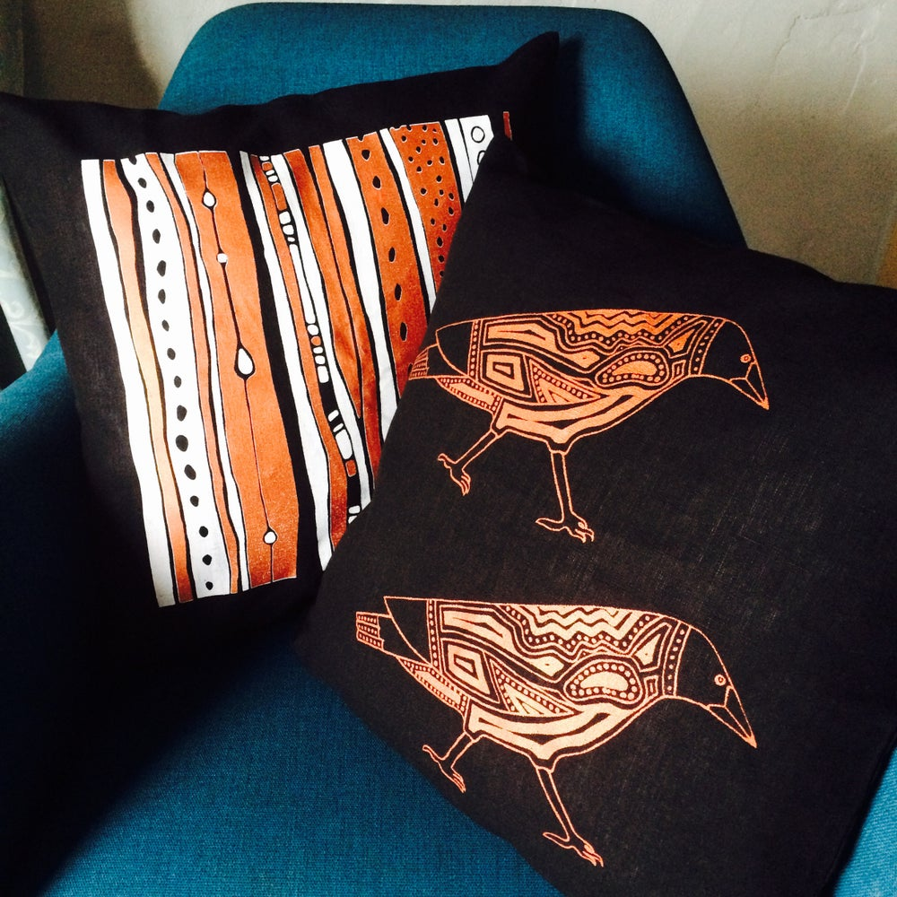 Image of 100% Linen Magpies Cushion Cover
