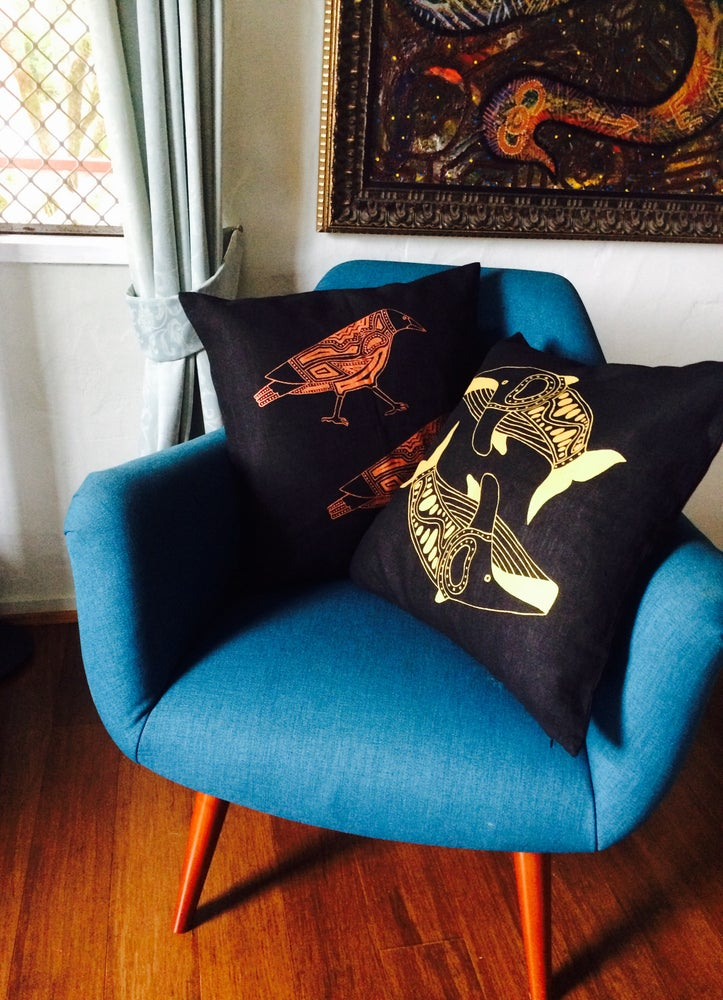Image of 100% Linen Whales Cushion Cover