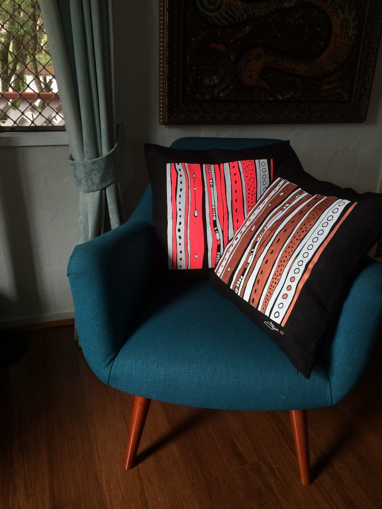 Image of 100% Linen Linear Design Cushion Cover