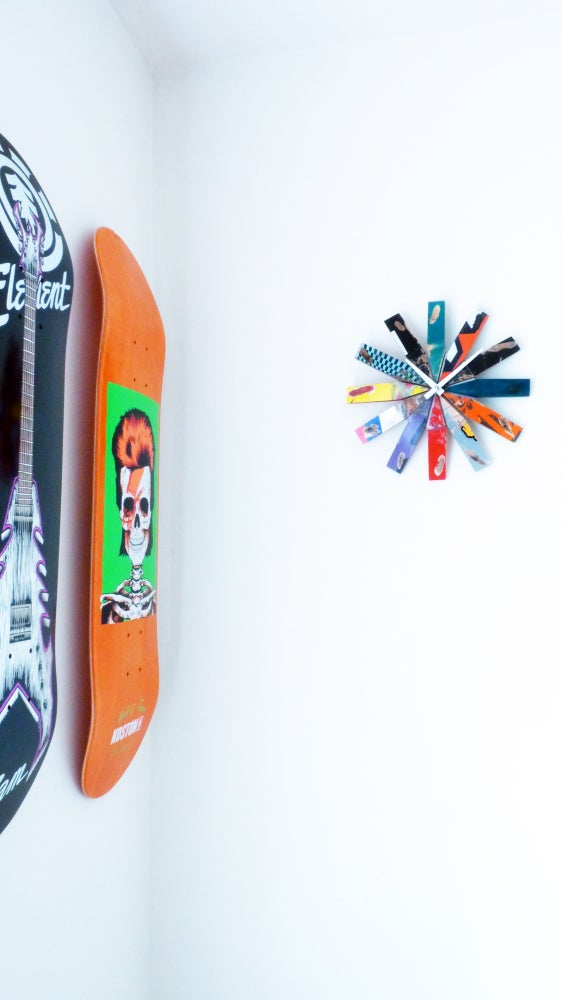 "Image of NEW! Wheel Bite Skateboard Clock - 10.5"" Dia. Wall Clock by Deckstool."