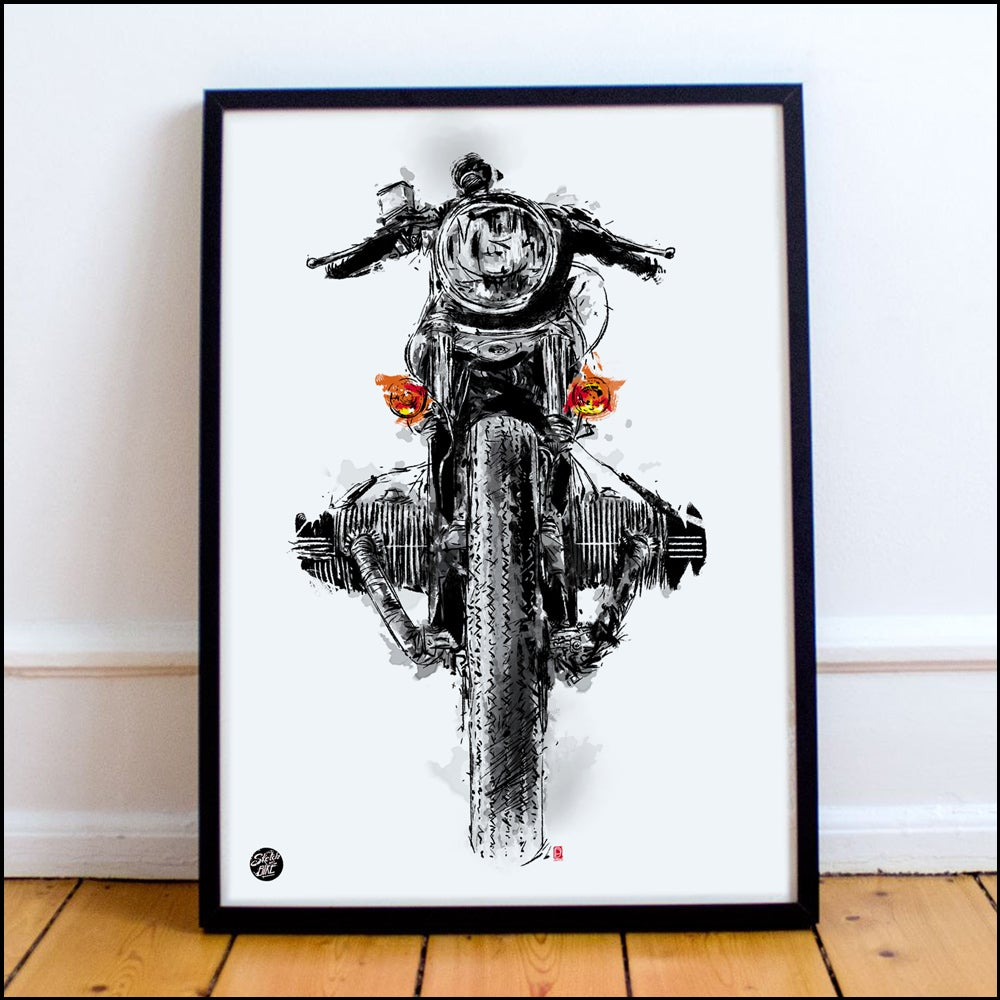 Image of Framed Motorcycle Art - 30x40cm