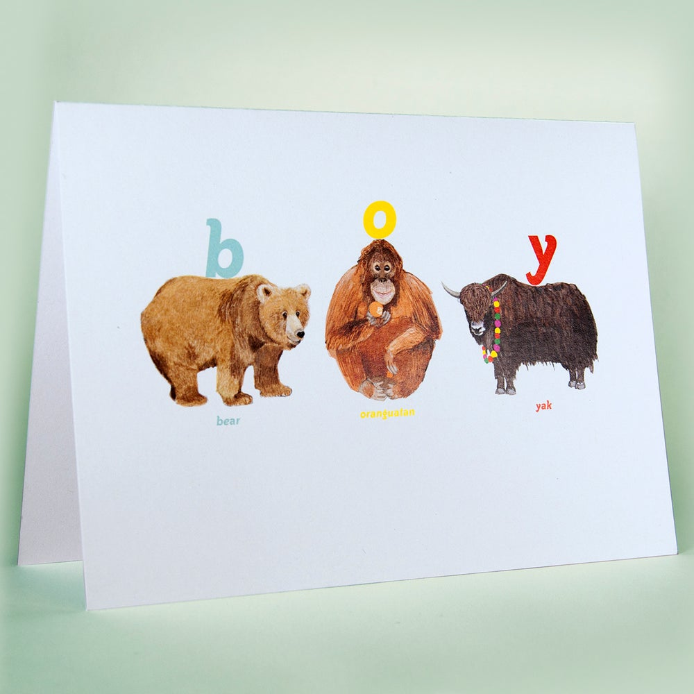 Image of Boy Animal Card