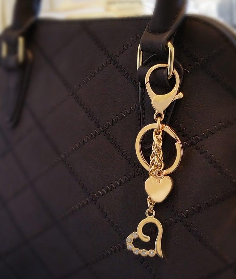 Image Of Heart Charm With Diamond Accents Handbag Accessory Keychain Bag
