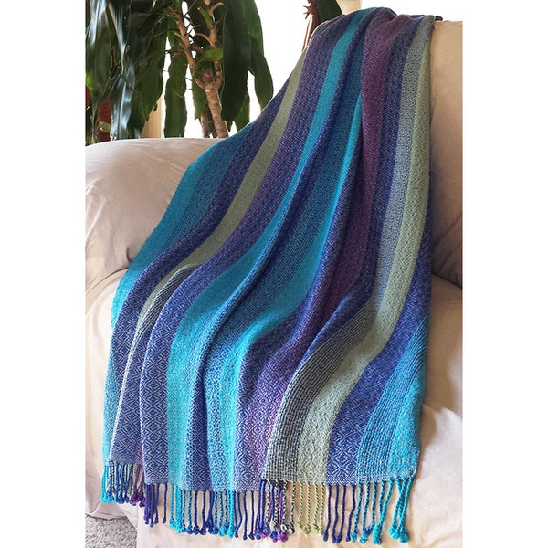 Image of Coverlet Throw Blanket - Soft Blue-gray Royal Turquiose Purple Willow Green, Handwoven