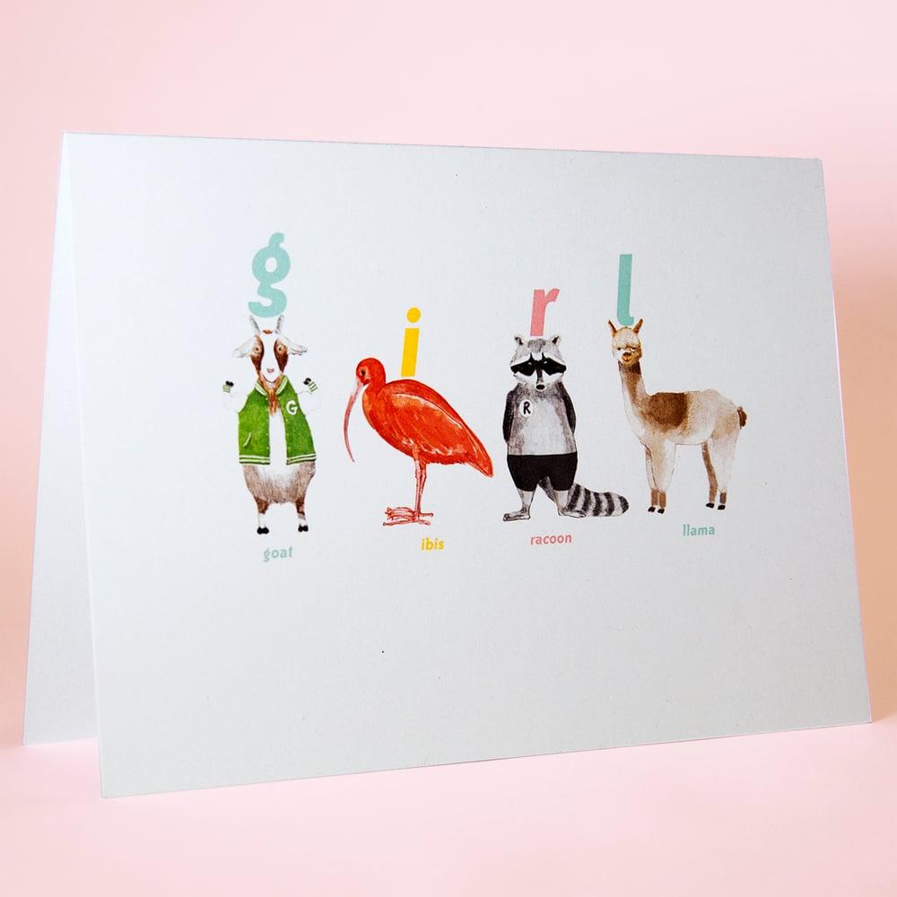 Image of Girl Animal Card