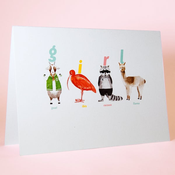 Image of Girl Animal Card