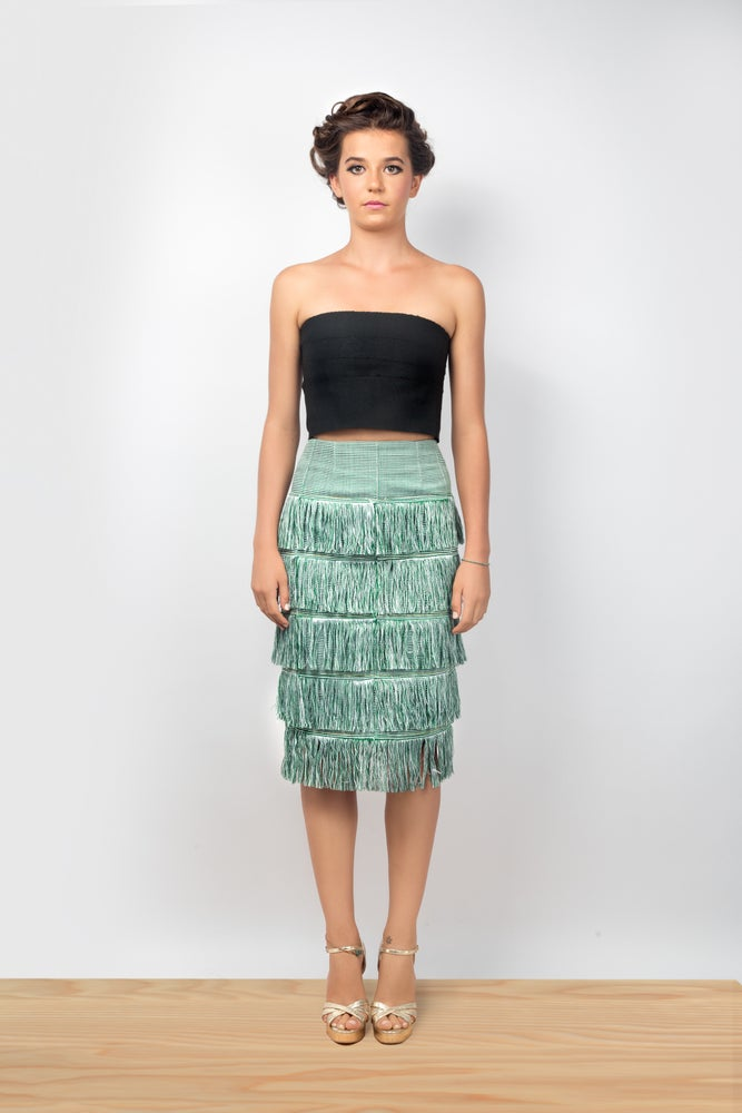 Image of Dumi Fringe Skirt (Leaf/Salt/Pepper)