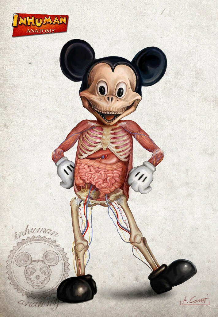 "Image of INHUMAN ANATOMY ""Mickey's anatomy"" limited edition of 100 Giclèe print on fine art canvas"