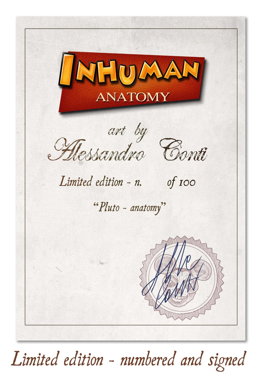 Image of INHUMAN ANATOMY - Pluto's anatomy - limited edition of 100  Giclèe print on fine art canvas