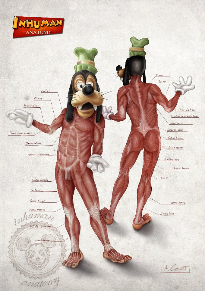Image of INHUMAN ANATOMY - Goofy's anatomy - limited edition of 100 Giclèe print on fine art canvas