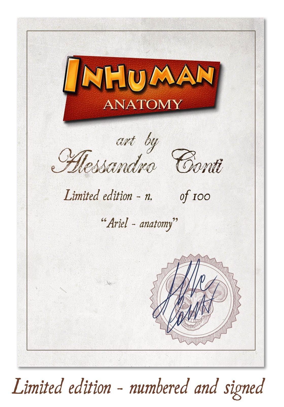 Image of INHUMAN ANATOMY - Ariel's anatomy - limited edition of 100 Giclèe print on fine art canvas