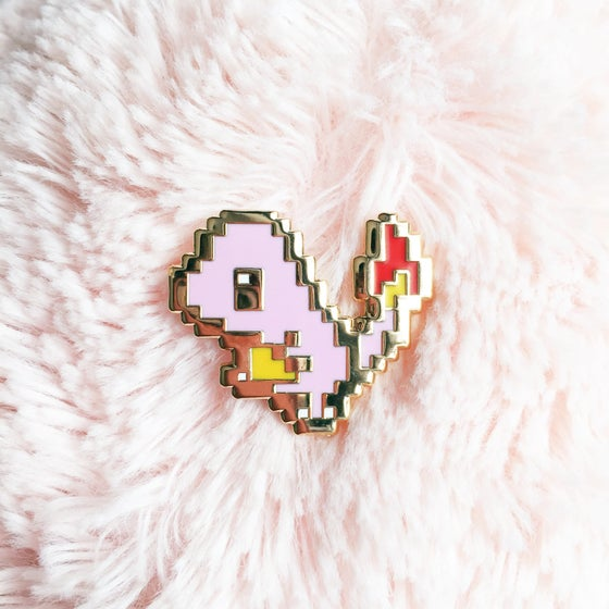 Image of 8bit Fire Lizard Enamel Pin