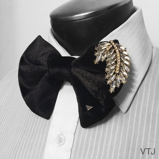 Image of Black Velvet Studded/Jeweled Bowtie