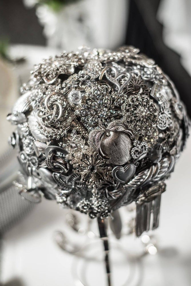 Image of ALL SILVER ROYAL BROOCH BOUQUET
