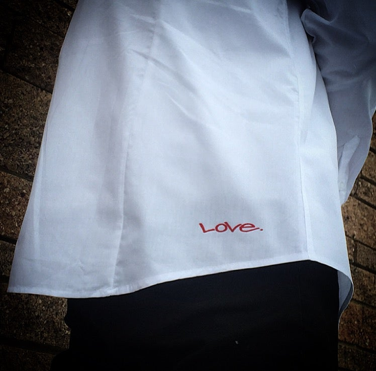 "Image of White ""Love...period!"" Button-Up"