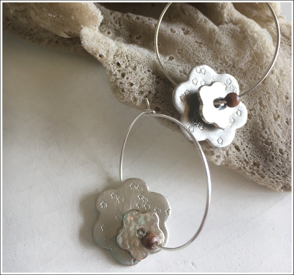 Image of Double Flower hoops