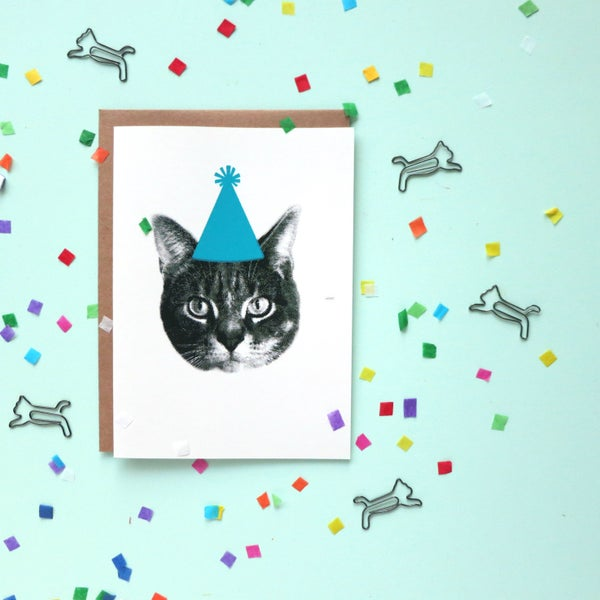 Image of gee whiskers series: party hat screenprinted notecard